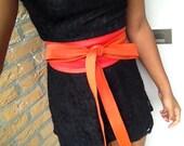 XX-Long Orange and bright red patchwork genuine leather obi belt, corset belt, wide obi belt, japanese style belt, female cincher