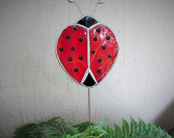 """Stained Glass """"Ladybug"""" Plant/Garden/Memorial Marker - Authentic Stained Glass - Whimsical Gift Idea"""