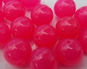 14mm. 25CT. Pink Gumball Beads, Chunky Beads, Chunky Beads, Chunky Gumball Beads, Jell look, B72