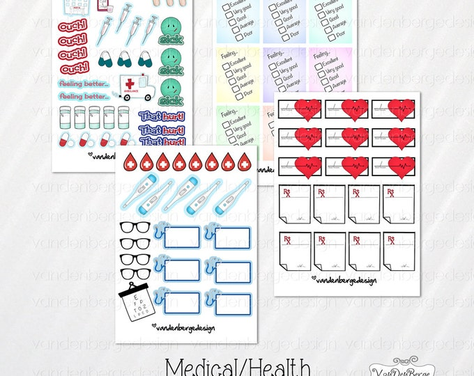 Sale! Medical/Health Sampler Planner Stickers 84ct Perfect for the  Erin Condren Life Planner, Filofax, Kikki K, Calendar or other planner