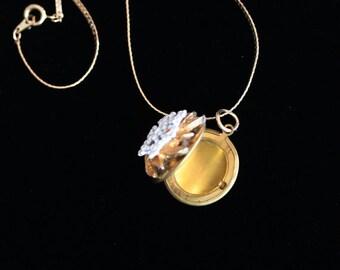 Bridal Necklace, Made with Vintage Jewelry, Vintage Wedding Jewelry, Photo Locket, Wedding Shower Gift, Vintage Locket, Picture Locket