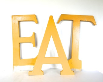 Vintage wooden Sign Letter / Huge Capital Initial - Reclaimed Industrial Advertising Salvage