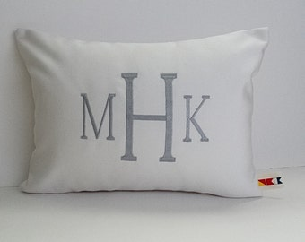 MONOGRAMMED PILLOW COVER indoor outdoor personalized decorative throw dorm nursery embroidered initial wedding gift initial oba canvas co.