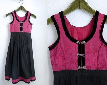 Kids Norwegian Folk Dress Pink and black Velvet Girls NORWEGIAN Barne Bunad Festdrakt folk fashion Size 128/ 7-8 years