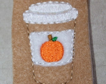 Pumpkin latte, Pumpkin coffee cup with pumpkin on label, for hair accessories, scrap booking or crafts