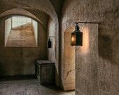 Lantern Photograph, Architecture Print, Kitchen Art, Amber Decor, Window Photograph, Brown Decor, Rustic Photography, Petit Trianon, Shadows