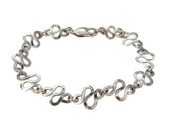 Hand Wrought Sterling Silver Zig Zag Chain Bracelet