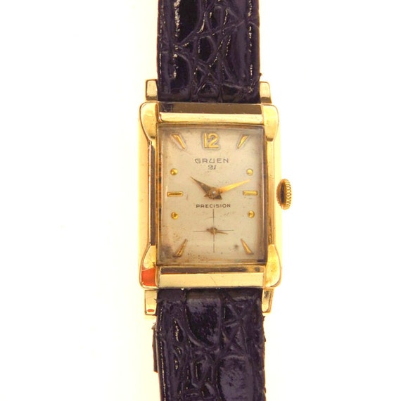 vintage gruen precision veri thin 21 jewels watch by. Black Bedroom Furniture Sets. Home Design Ideas
