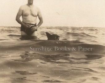 Swimming Dog - Vintage Photo - Dog Photo - Waves - Vintage Snapshot