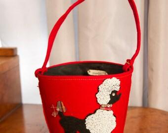 1950s Purse // Red Felt Poodle Beaded Novelty Bucket Handbag by Novelena.