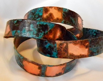 2 Stacker Copper Cuffs w bright Turquoise patina,Cowgirl,Southwestern,Texas Style Jewelry 1/2 in. cuff, Wearable Original Art by Judy Reno