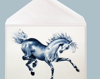 """Horse art blank Greeting Card by Dotty Reiman  titled """"Blue Prancer""""- Option to Add Your Personal Message Inside of Card!"""