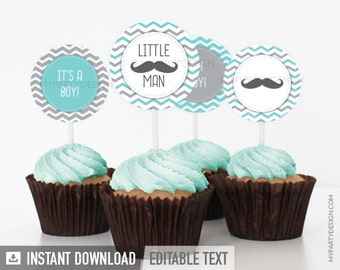Little Man Baby Shower - Mustache Party - Cupcake Toppers - INSTANT DOWNLOAD - Printable PDF with Editable Text