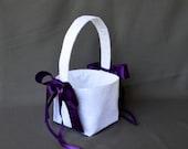 White lace wedding flower girl basket with plum purple satin ribbon bows