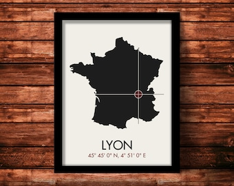Lyon Map Print | Lyon Map Art | Lyon Print | Lyon Gift | France Map | 11 x 14 Print