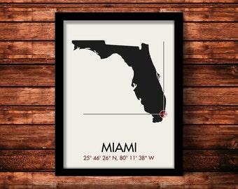 Miami Map Print   Miami Map Art   Miami Print   Miami Gift   Florida Map   11 x 14 Print