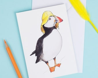 Puffin in a Sou'wester Card, birds in hats card, birder card, blank card, yellow hat, funny illustration