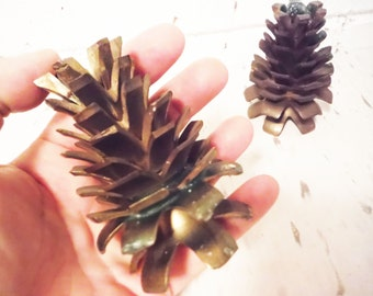 Vintage pine cone brass candle holders lakehouse decor cabin pair woodland natural pinecone