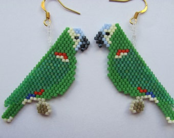 Hand Beaded Blue Front Amazon Parrot earrings