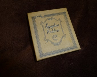Eyeglass Holder Vintage Pin Brooch in Original Box