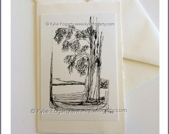 Strathnairn Tree, Fine Art Luxury Greeting Card,  Kylie Fogarty Art, Black and White Drawing, Minimalist Card, Father's Day