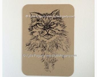 Animal - Clearance - Cat - Art Print - Contemporary Art Print - Line Art Drawing - Fine Art Print - Kitten - Kitty