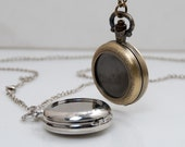 medium antique bronze / silver filigree with 25mm pad base round pocket watch locket pendants necklaces Jewelry