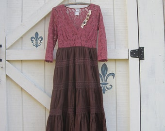 XS Long cowgirl dress, Cowgirl gypsy bohemian, Prairie dress, tiered romantic dress, XS upcycled eco fashion by ShabyVintage