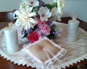 Tan burlap and pink lace ruffle ring pillow