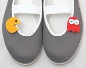 Pacman / felt vegan trends shoes ballet flat gift her girl teen comfortable fashion cozy vegan funny game