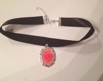 Clear and Red Rose Cameo Choker