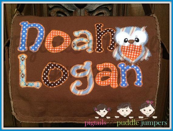 two name messenger bag personalized diaper bag school bag. Black Bedroom Furniture Sets. Home Design Ideas