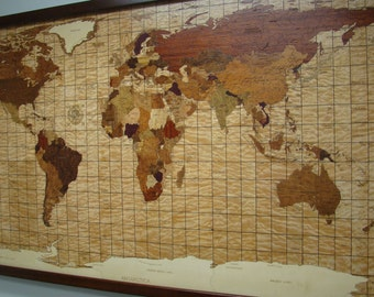 World Map of wood with LED and fiber optic lighting.