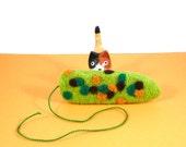 Pond Scum Catnip Cat Toy -  Needle Felted Wool