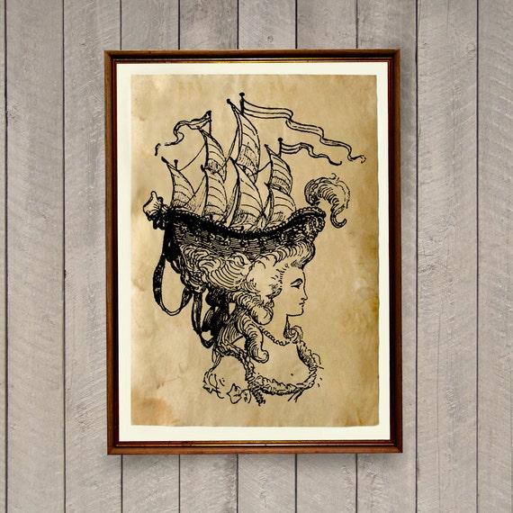 Ship print nautical home decor antique poster ak517 for Ship decor home
