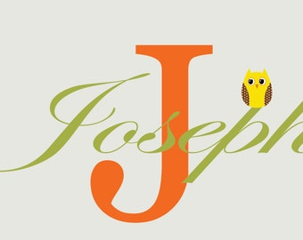 Nursery name decal - Owl name decal - initial monogram decal - name with owl vinyl wall decal