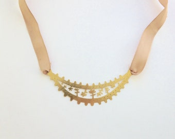 Brass Cutout Necklace with Satin