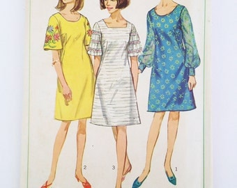 Simplicity vintage dress pattern 6997, one-piece dress with two necklines, two sleeve styles plus embroidery