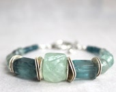 Earthy Fluorite Natural Gemstone Blue Green With SIlver Bracelet