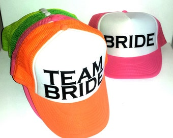 Team Bride Neon Snapback Mesh Trucker Hat Cap Bachelorette Party Copperplate Wedding