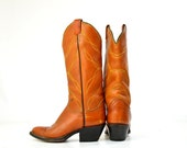 Vintage Tony Lama Brown Stitched Leather Country Western Cowboy Boots 5.5 Womens