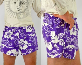 80s Hawaiian Shorts Purple Floral Print Beach Party Swimming Shorts