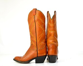 SALE Vintage Tony Lama Brown Stitched Leather Country Western Cowboy Boots 5.5 Womens