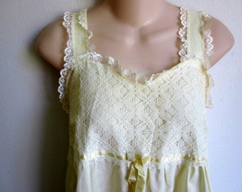 sweet cotton nightgown granny style sunny yellow S M