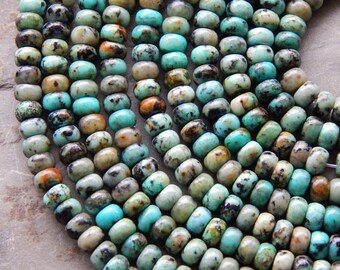 4X6mm Natural African Turquoise Semi-Precious Polished Rondelle Beads, Half Strand (IND3C675)