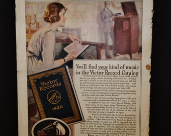 1920 Victor Records Catalog - Victrola advertisement + back page ad The Fleisher Yarns - Fleisher Knitting Yarns - paper ephemera