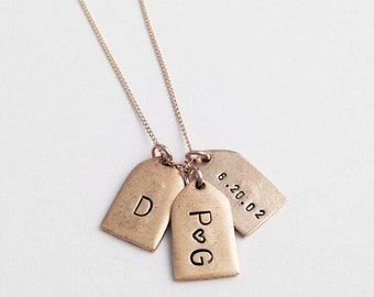 Personalized necklace classic engraved tag - deliacte gold chain, handmade jewelry engagement, bridesmaid