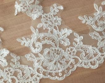 Beautiful Alencon Lace Trim , Scallop Re-embroidered Bridal Lace Trim ,Floral Cord Lace Trim 2 yards
