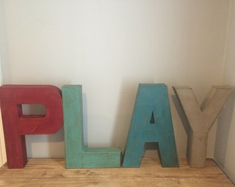"""12"""" Vintage Style Hand Painted Letters. PLAY letters. Typography. Letters. Faux Aged Metal. Painted Letters.Vintage Letters.Marquee Letters"""