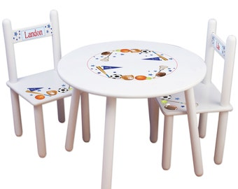 Childs Table & Chair Set Kids Furniture for Sports Bedroom Play Table Toddler Boys Playroom Football, Baseball Nursery TABLESETRND-203